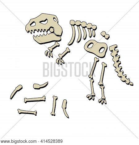 Dinosaur Skeleton. Bones Of A Prehistoric Lizard. The Halloween Element. Funny Monster. Archeology A