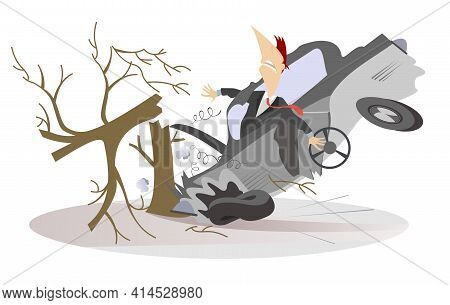Car Smashed Into A Tree Isolated Illustration.  Man In The Crashed Car With A Steering Wheel Smashed