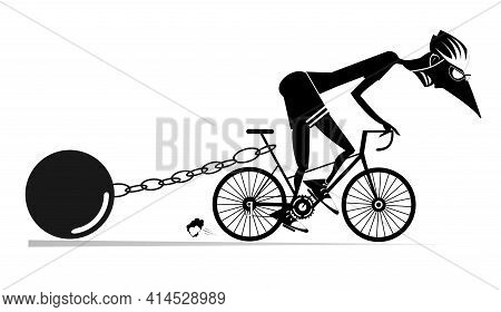 Hard Training Cyclist Man Illustration.  Cyclist Man Drags A Heavy Weight To Be Connected By The Cha
