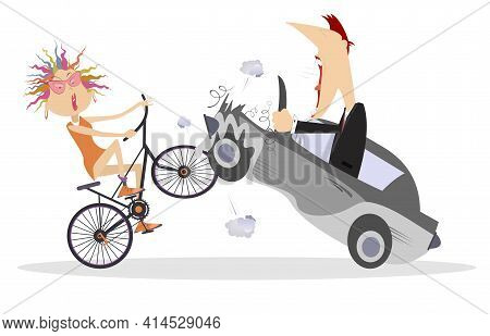 Cyclist And Car Driver Accident Illustration. Road Accident. Angry Driver Cries To Cyclist Woman Sma