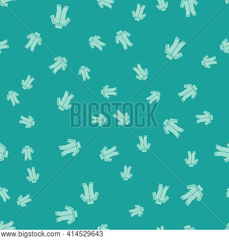 Green Wetsuit For Scuba Diving Icon Isolated Seamless Pattern On Green Background. Diving Underwater