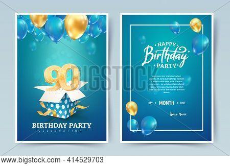 90th Years Birthday Vector Invitation Double Card. Ninety Years Wedding Anniversary Celebration Broc