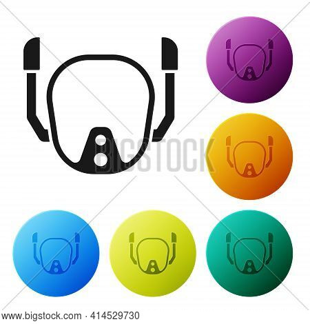 Black Diving Mask Icon Isolated On White Background. Extreme Sport. Diving Underwater Equipment. Set