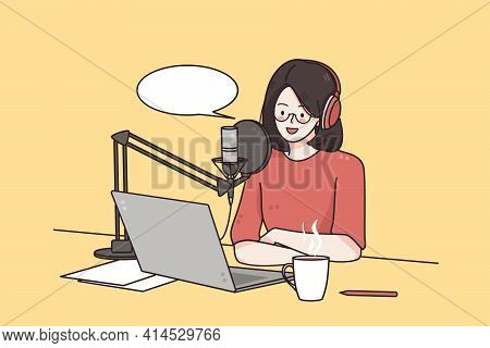 Podcaster Making, Blogger, Technology Concept. Young Smiling Woman Cartoon Character Sitting Recordi