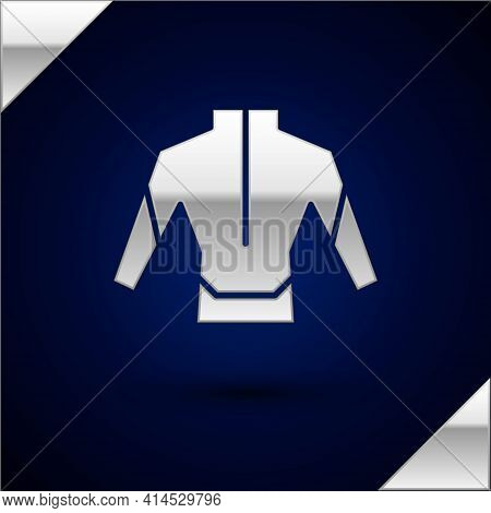 Silver Wetsuit For Scuba Diving Icon Isolated On Dark Blue Background. Diving Underwater Equipment.