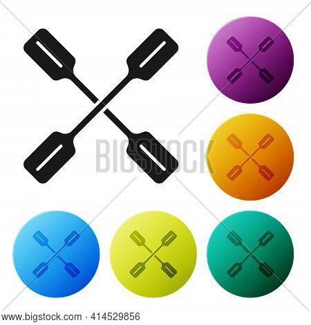 Black Paddle Icon Isolated On White Background. Paddle Boat Oars. Set Icons In Color Circle Buttons.