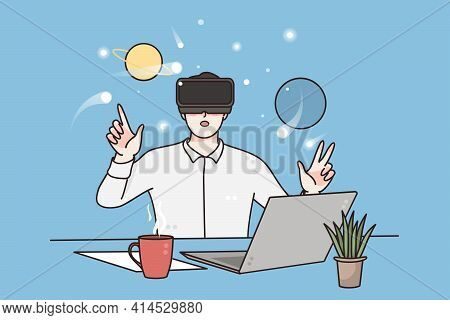 Virtual Reality, Science And Technology Concept. Young Man Wearing Virtual Reality Headset Sitting A