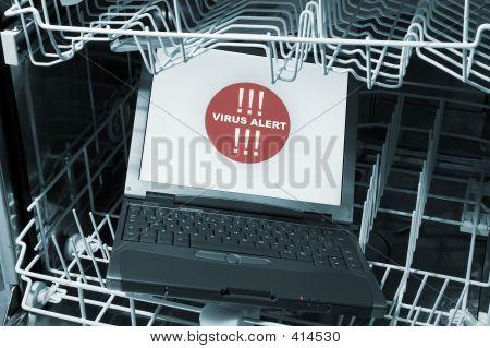 Notebook In Dishwasher - Virus Alert