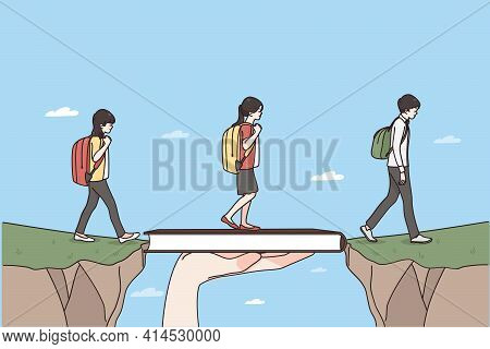 Role Of Teacher In Education Concept. Teacher Hand Holding Book Bridging Gap In Primary Education Fo
