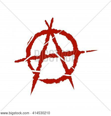Anarchy. Letter A In The Circle. A Symbol Of Chaos And Rebellion. Red Brush Icon.