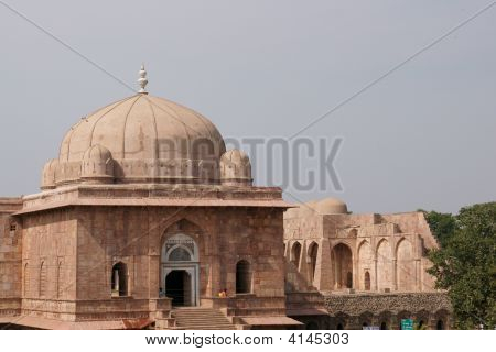 Entrance to the ancient mosque of Ashrafi Mahal Mosque Mandu Madya Pradesh. 15th Century AD poster