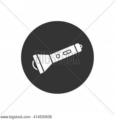 Flashlight Vector White Icon. Flashlight Flat Sign Design