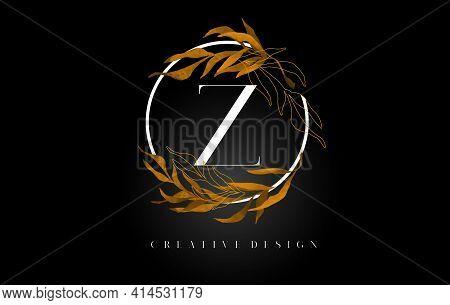 Golden Leaf Letter Z Logo Design With Gold Leafs And Golden Monoline Lines. Letter Z Logo For Cosmet