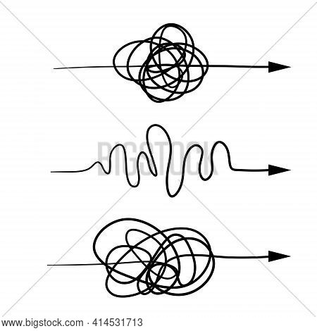 Tangled And Wavy Line. Set Of Chaotic Arrows Of Different Shapes. Sketch Doodle Illustration