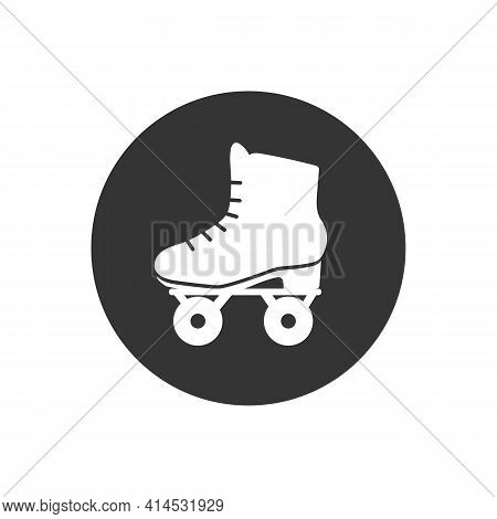 Roller Skate White Icon Symbol. Vector Isolated Rollerskating Element Trendy Style