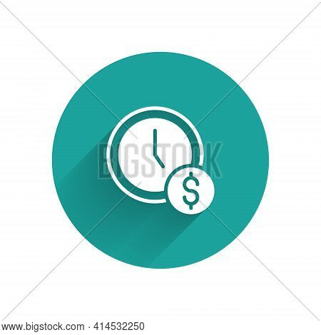 White Time Is Money Icon Isolated With Long Shadow. Money Is Time. Effective Time Management. Conver
