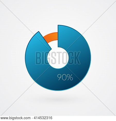 90 Percent Isolated Pie Chart. Percentage Vector, Infographic Gradient Icon. Circle Sign For Busines