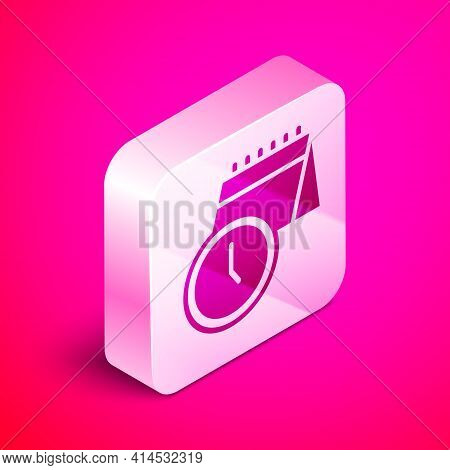 Isometric Calendar And Clock Icon Isolated On Pink Background. Schedule, Appointment, Organizer, Tim