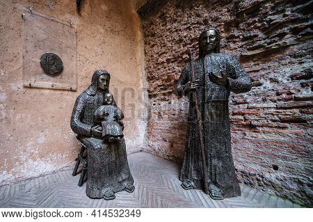 Rome - May 8, 2014: Modern Sculpture In Courtyard Of Basilica St Mary Built At Baths Of Diocletian I