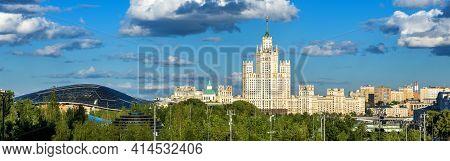 Panorama Of Moscow In Summer, Russia. Panoramic View Of Zaryadye Park And Kotelnicheskaya Embankment