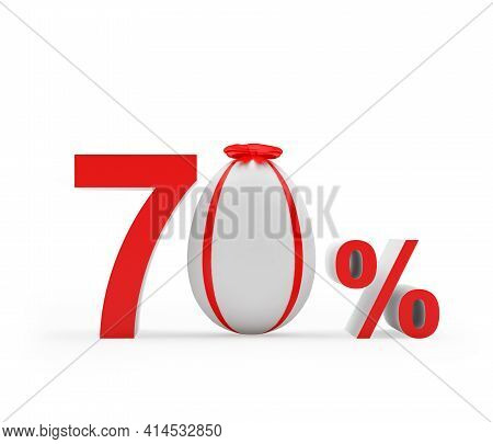 Discount Seventy Percent Off With Easter Egg Decorated With Red Ribbon. 3d Illustration