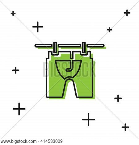 Black Drying Clothes Icon Isolated On White Background. Clean Shirt. Wash Clothes On A Rope With Clo