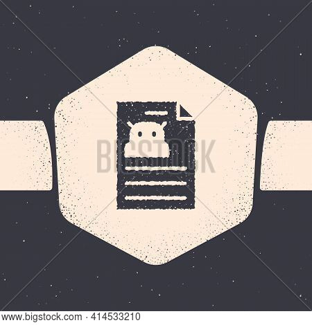 Grunge Technical Specification Icon Isolated On Grey Background. Technical Support Check List, Team