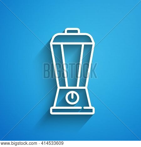 White Line Blender Icon Isolated On Blue Background. Kitchen Electric Stationary Blender With Bowl.
