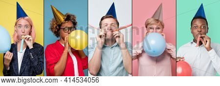Women And Men In Party Hat With Air Balloons Celebrating Birthday Party.