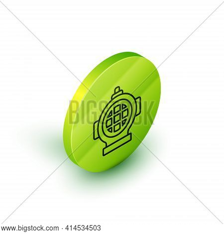 Isometric Line Aqualung Icon Isolated On White Background. Diving Helmet. Diving Underwater Equipmen