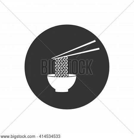 Ramen Noodle Soup Bowl With Chopsticks Flat Vector White Icon For Food Apps Websites