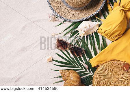 Female Beach Accessories: Swimsuit, Bikini, Rattan Bag, Straw Hat, Shells, Sunglasses, Palm Leaves O