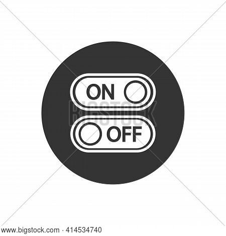 Flat White Icon On And Off Toggle Switch Button Vector Format