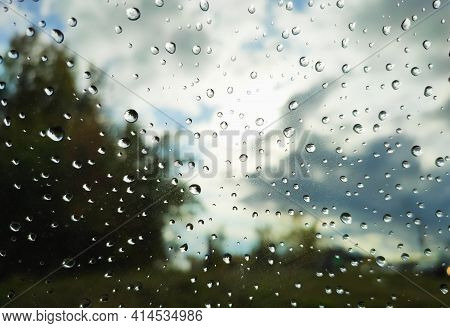 Beautiful Landscape Behind Glass With Raindrops, Summer Rainy Day
