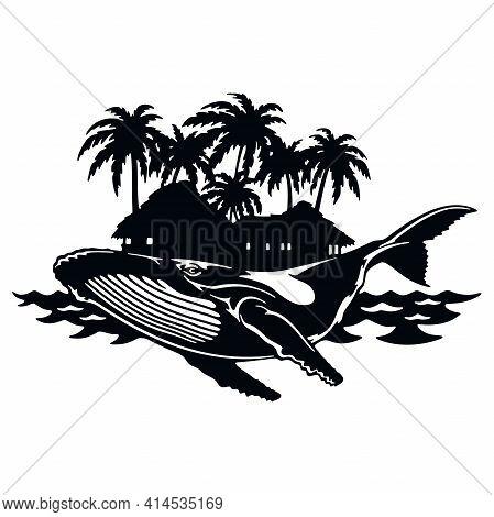 Whale, Wildlife Stencils - Silhouettes, Wildlife Clipart, Iron On, Vector, Vinyl Design.