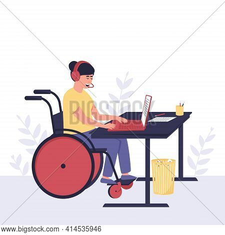 Disabled Girl Behind A Laptop In Headphones With A Microphone. The Hotline Operator Advises The Clie