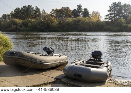 Fishing Boats With Outboard Motor At The