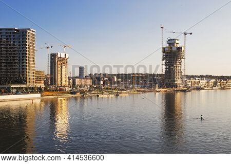 Belgrade Tower, The New Building Rising On The Bank Of River Sava, Serbia