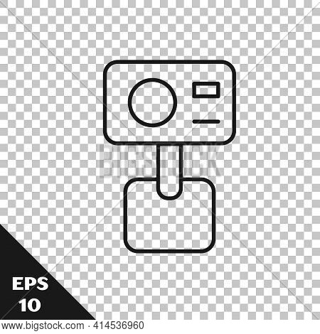Black Line Action Extreme Camera Icon Isolated On Transparent Background. Video Camera Equipment For