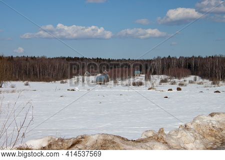 Frosty Day In Snowy Coniferous Forest. Location Place Of Carpathian Mountains, Ukraine, Europe. Magn