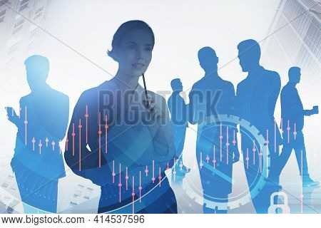 Businesswoman With Notebook, Business People Teamwork, Stock Market Crisis, Candlesticks And Digital