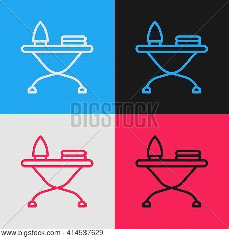 Pop Art Line Electric Iron And Ironing Board Icon Isolated On Color Background. Steam Iron. Vector