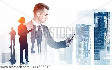 Office Man In Suit Using Smartphone, Silhouettes Of Business People, Teamwork. Double Exposure Of Bu