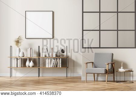 Modern Living Room Interior With Vintage Armchair And Coffee Table, Bookshelf With Books And Vase De