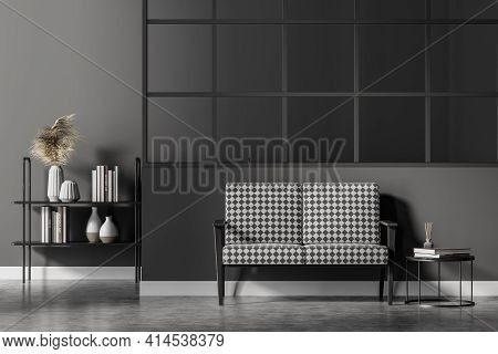 Modern Living Room Interior With Black And White Armchair And Coffee Table, Bookshelf With Books, Mi