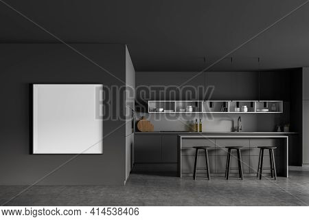 Grey Kitchen Room With Table And Bar Chairs, Grey Concrete Floor. Kitchen Set Interior With Grey And