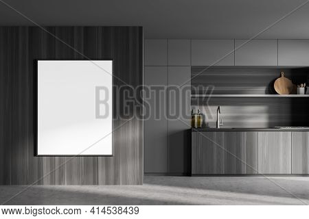 Dark Contemporary Kitchen Room Interior With Empty White Poster On The Wall, Concrete Floor, Electri
