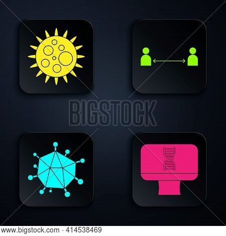Set Dna Spiral And Computer, Virus, Virus And Safe Distance. Black Square Button. Vector