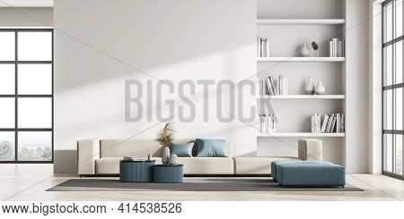 Contemporary Living Room Interior With Empty White Wall, Panoramic Window With Countryside View, Com