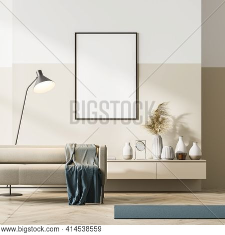 Bright Contemporary Waiting Room Interior With Beige Couch And Sideboard On Oak Wooden Parquet Floor